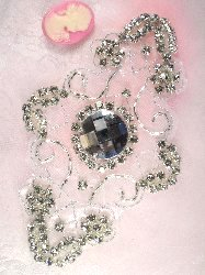 JB80 Crystal Silver Beaded Rhinestone Applique 5.75""