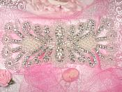 JB43 Beautiful Pearl Bridal Sash Motif Silver Beaded Pearl Crystal Rhinestone Applique 7.75""