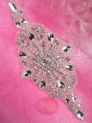 JB45 Hot Fix Silver Beaded Crystal Rhinestone Applique 7""