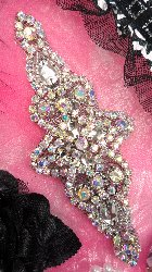 JB47 Black Backing Aurora Borealis Crystal AB Rhinestone Silver Beaded Applique Iron-On 6