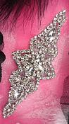 JB47 Black Backing Silver Beaded Crystal Rhinestone Applique Iron-On 6""