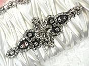 "Black Backing Black Beaded Crystal Rhinestone Applique Iron-On 6"" (JB47)"