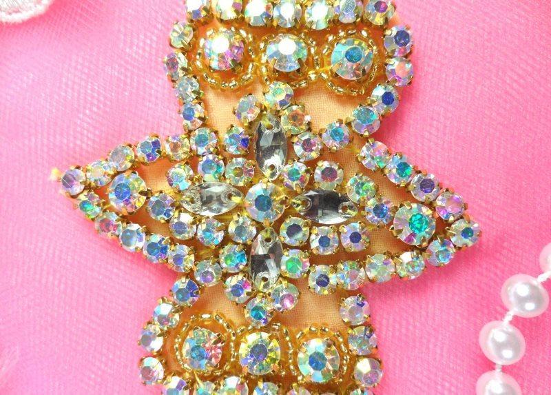 "Applique Aurora Borealis Crystal AB Rhinestone Gold Beaded Iron-On 6"" (JB47-glab)"