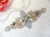 "Applique Aurora Borealis Crystal AB Rhinestone Gold Beaded Iron-On 6"" (JB47-glab2)"