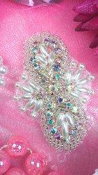 "JB56 Hot Fix Silver Pearl Beaded Aurora Borealis Crystal AB Rhinestone Applique 2.75"""