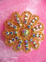 "JB57  Floral Glass Gold Beaded Aurora Borealis Crystal AB Rhinestone Applique 2"" Hot Fix Iron on"
