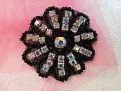 "Crystal AB Rhinestone Applique Black Beaded Floral Crystal 2"" (JB57)"
