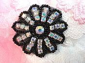 "Crystal AB Rhinestone Applique Black Beaded Floral Crystal 2"" (JB57)"