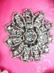 "JB57  Rhinestone Applique Black Backing Floral Silver Beaded Crystal  2"""