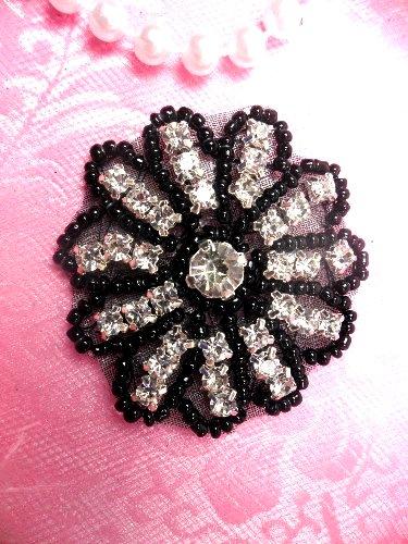 "JB57  Rhinestone Applique Black Beaded  Floral Crystal 2"""