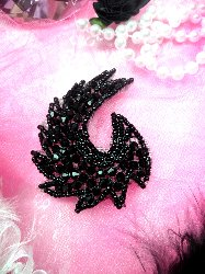 "JB60 Black Curl Designer Glass Beaded Applique 3"" Hot Fix Iron on"