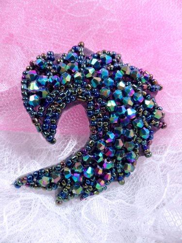 "JB60 Peacock Curl Designer Glass Beaded Applique 3"" Hot Fix Iron on"