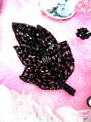 """JB63 Black Leaf Designer Glass Beaded Applique 4"""" Hot Fix Iron on"""