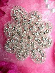 "JB65  Floral Glass Silver Beaded Rhinestone Applique 3"" Hot Fix Iron on"
