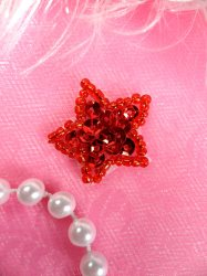 JB70 Star Applique Red One Inch Beaded Sequin 1""