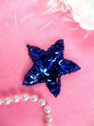 JB72 Star Applique 2 inch Blue Sequin Beaded
