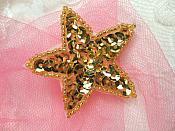 2 inch Gold Star Applique Sequin Beaded (JB72)