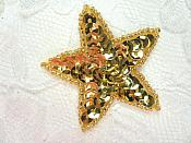 2 inch Gold Star Applique Sequin Beaded (JB72)
