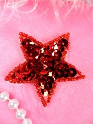 JB72 Star Applique 2 inch Red Sequin Beaded