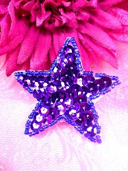"""JB73 Purple Star Beaded Sequin Applique Iron on Patch 2.5"""""""