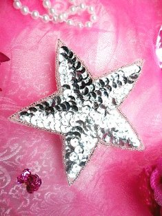 """JB75 4 inch Silver Star Beaded Sequin Applique 4"""" Iron on Patch"""