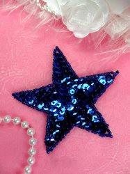 JB74 Star Applique 3 inch Blue Sequin Beaded