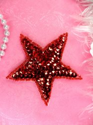 JB74 Star Applique 3 inch Red Sequin Beaded
