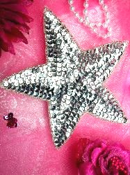 """JB76 Six inch Silver Star Beaded Sequin Applique Patch 6"""" Iron on"""