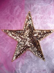 """JB76 Six inch Gold Star Beaded Sequin Applique Patch 6"""" Iron on"""