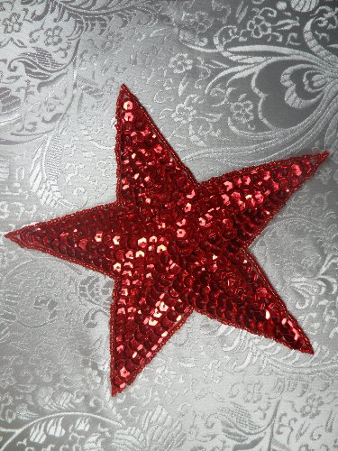 "JB75 4 inch Red Star Beaded Sequin Applique 4"" Iron on Patch"