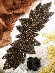 """JB77 Bronze Leaf Designer Glass Beaded Applique 7"""""""