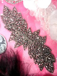 RMJB77 REDUCED Pewter Leaf Designer Glass Beaded Applique 7""