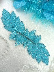 """JB77 Turquoise Leaf Designer Glass Beaded Applique 7"""""""