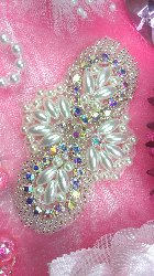 "JB82 Aurora Borealis Silver Pearl Beaded Crystal AB Rhinestone Applique 4"""