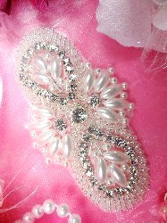 JB82 New Arrival Larger Size !! Silver Pearl Beaded Rhinestone Applique 4""