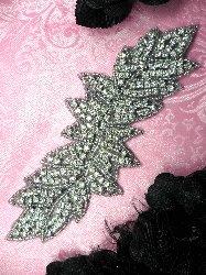"""JB83 Black Backing Leaf Cluster Crystal Clear Silver Beaded Rhinestone Applique 7.5"""""""