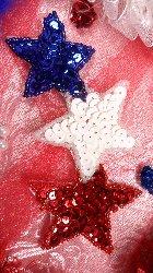 "JB87 Triple Star Applique Patriotic Beaded Sequin 5.25"""