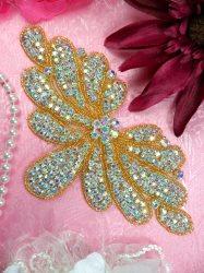 "JB89 Gold Beaded Crystal Aurora Borealis Rhinestone Applique 6.5"""