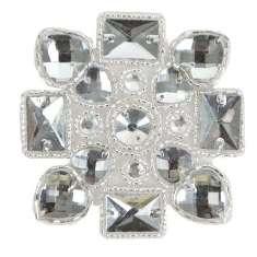 "E2615 Jewel Heart Motif Beaded Applique 3.25"""