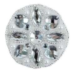 """E2620 Jewel Hearts Motif Beaded Applique 2.25"""""""