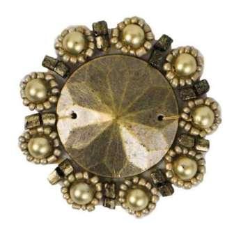 "E2622  Antique Gold Bead Pearl Medallion 1.75"""