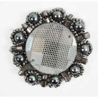"E2622  Grey Bead Pearl Medallion 1.75"""