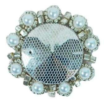 "E2622  Silver Bead Pearl Medallion 1.75"""