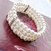 Stretchy Triple Strand Pearl Bracelet With Silver Crystal Rhinestone Bands Costume Jewelry JW63