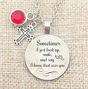 Inspirational Pendant Cross Charm Necklace w/ Silver Chain and Red Stone JW104