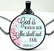 """Scripture Pendant """"God is Within Her She Shall Not Fail"""" Inspirational Necklace Christian Jewelry w/ Black Chain JW106"""