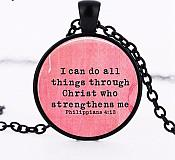 """Scripture Pendant """"I can do all things through Christ"""" Inspirational Necklace Christian Jewelry w/ Black Chain JW107"""
