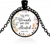 "Necklace Scripture Pendant ""By His Wounds We are Healed"" Inspirational Christian Jewelry w/ Black Chain JW108"