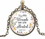 "Necklace Scripture Pendant ""By His Wounds We are Healed"" Inspirational Christian Jewelry w/ Gold Chain JW108"