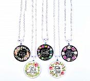 Scripture Necklace The Truth Will Set You Free Pendant Inspirational Christian Jewelry w/ Silver Chain JW109